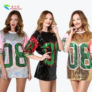 China Silver Letter 08 Womens Sequin Clothing Half Sleeve Casual T - Shirt Dress on sale