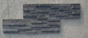 China Black Slate 3D Z Clad Ledge Stone Veneer 15x35cm Culture Stacked Stone Cladding Stone Pane on sale