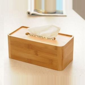 China Office Table Bamboo Tissue Box Cover Holds Rectangular Shaped Modern Look on sale