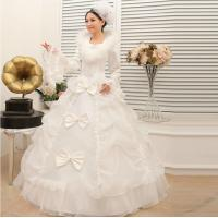 China Embroidered Vintage long sleeve White Cotton Wedding Dresses winter wedding gowns on sale