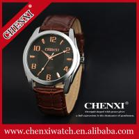 FOB Guangzhou Cheap Price OEM Small MOQ Wristwatches Man Hot Sale Brown Wine Stainless Steel Leather Wrist Watch