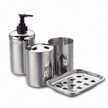 Stainless Steel Bathroom Set Of Liquid Soap DIspenser, Tumbler, Toothbrush  Holder And Soap Dish