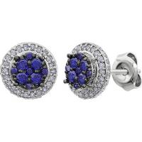 China Silver Base Rhodium Plated  12mm diameter Paved Zircon Stud Earrings on sale