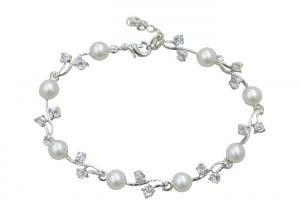China 925 Sterling Silver Bangle Bracelets With Pearl Tulip Flower Charm Link / Clear Crystal Leaf on sale