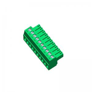 China PA66 Green Pluggable Pcb Terminal Block  Without Ear 10P 3.50 Female WCON ROHS on sale