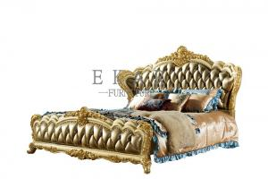 China Royal Wooden Carved Design Luxury Leather Headboard King Size Bed LF-029 on sale