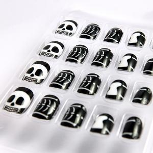 quality halloween kids fake nails with black printing for party safe fake nails for sale