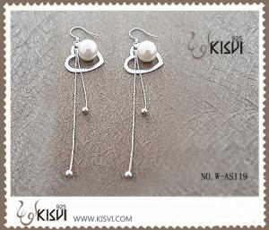 China Elegant designs 925 sterling silver gemstone earrings with imitated pearl W-AS119 on sale