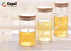 China Heat Resistant Brown Glass Water Pitcher With Bamboo Lid Non Toxic on sale