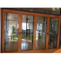 Aluminum Folding glass Door For Balcony,durable aluminum bi-folding door with wood color