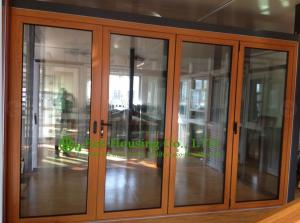 China Aluminum Folding glass Door For Balcony,durable aluminum bi-folding door with wood color on sale