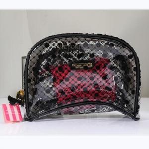 China Victoria's Secret 3pcs/set Cosmetic Bags black pink Waterproof PVC Pouch Travel wash bag on sale
