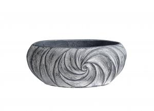 China Low Bowl Swirl Pattern Resin Urn Planters / Resin Flower Pots Charcoal Withewashed on sale
