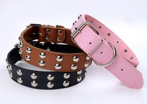 China Fashion leather dog collar with 3 colors 2 sizes on sale