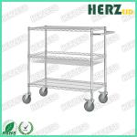 Height 1500mm ESD Storage Shelves / Handle Carts Three Layers Each Castor Capacity 70kgs