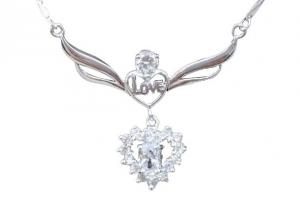 China Double Heart White Zircon 925 Sterling Silver Necklace Chain For Anniversary Love Gift on sale