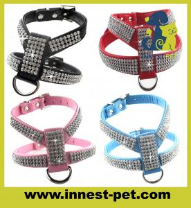China Luxury reshinestone dog products crystal pet harness on sale