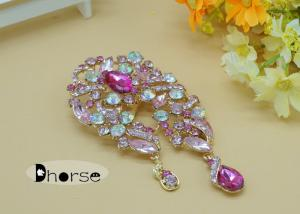China Purple Large Vintage Rhinestone Brooches , Rhinestone Brooch Pin For a Wedding on sale