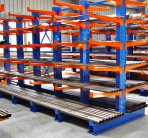 China warehouse heavy duty side steel pipe cantilever rack double column cantilever racking for rebar storage supplier