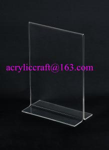 China Acrylic holder for table top menu holder, T shape clear insert acrylic menu holder on sale