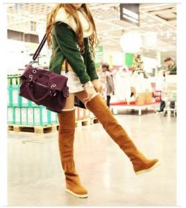 China Newest Fashion Women's Knee Boots Over Knee Inner Wedge Boots Ladies Sexy Winter Snow boot on sale