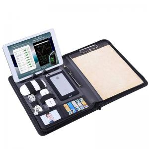 China Zippered Business Portfolio PU Leather Made With Removable Notepad Clipboard on sale