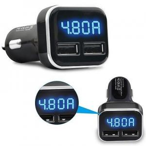China Auto Universal Fast Car Charger , LED Display Bluetooth Dual USB Car Charger on sale