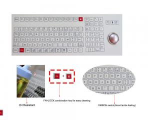 China Food and Beverage Industrial Membrane Keyboard with Trackball Omron Switch on sale
