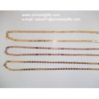 Rose gold steel flat link chain necklaces gold link chain jewelry