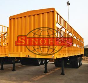 China Tri Axle Container Semi Trailer 50 Tons Bulk Stake Livestock Semi Trailers on sale
