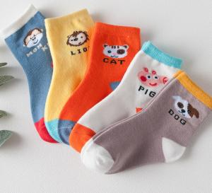 China Cotton School Socks Asian Boy Colorful Socks Girl Jacquard Crew Sock on sale