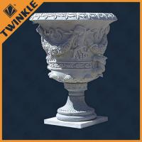 Carved white marble planter stone flower pots supface polished for exterior