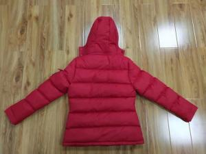 China Red Ladies Hooded Padded Jackets Womens Mid Length Puffer Coat With Hood on sale