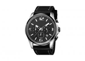 China Waterproof Black Chronograph Watch , Mens Chronograph Watches Leather Band Big Face on sale