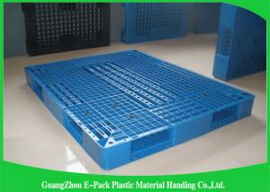 China Heavy Duty Rackable 1 Ton Steel Reinforced blue Plastic Pallets 1200*1000mm on sale