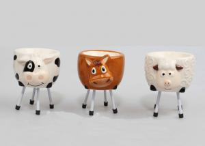 China Novelty Ceramic Egg Holder , Animal Ceramic Egg Cups 3D Figure With Metal Leg on sale