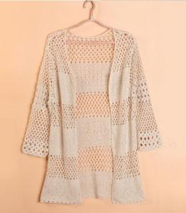 China Lightweight pointelle long Ladies Cardigan Sweaters for summer , cotton cardigan sweaters on sale