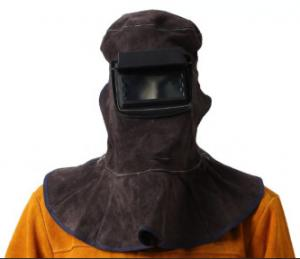 China Comfortable brown cowhide split leather welding mask with welding hood for splash proof and heat resistant on sale