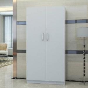 China New Design Three Doors Particle Board Wardrobe With Wood Shelves And Hangers on sale