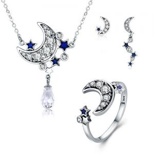 China Genuine 925 Sterling Silver Jewelry Set 3 Piece Moon And Star Dazzling For Women on sale