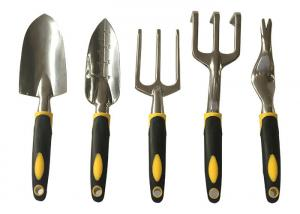 China 5 Piece Set Garden Hand Tools Aluminum Construction With Rubber Grip Handle on sale