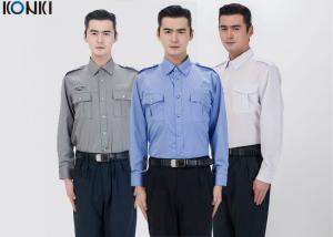 China Polyester Cotton Male Security Officer Uniforms Blue Long Sleeve Shirt on sale