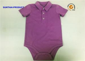 China Polo Collar Newborn Baby Bodysuits / Baby Girl Short Sleeve Bodysuit With Button Closured on sale