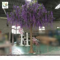 China UVG WIS011 4 meters purple fake trees with silk wisteria flowers for party decoration on sale