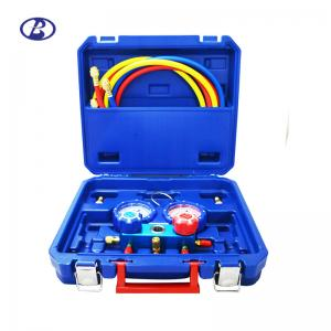 China Air Conditioner Manifold Gauge Set R410A R407C R22 R404A With Brass Adapter on sale