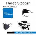 Face Masks Stopper Plastic Cord Stopper Black & White Color Soft PVC