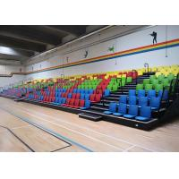 Floor Mounted Football Stadium Bleachers , Retractable Bleacher Seating With Wall Attached Platform