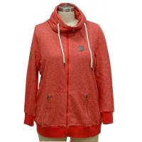 Stylish Red Ladies Casual Coats With Hide Hood Strong Cord Fall Women