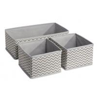 China Chevron Fabric Storage, Dresser Drawer Organizer -3 Piece Set, Taupe/Natural on sale