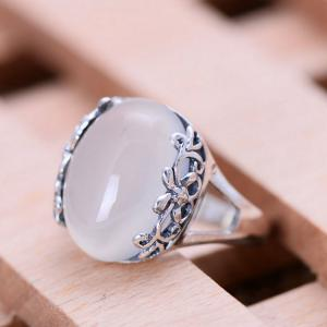 China Thai Sterling Silver Ring with White Chalcedony Vintage Style Women Ring (040191) on sale